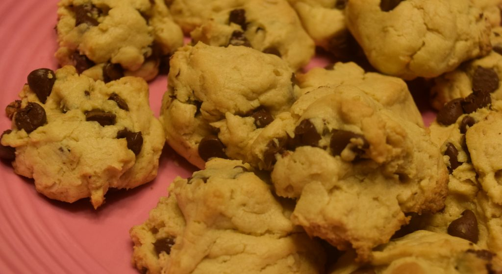 You can't even tell that a cake mix is used as a base for these cookies.  The perfect ratio of peanut butter, oats, and chocolate chips yields a soft, fluffy cookie that melts in your mouth.