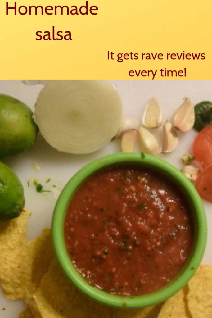 his homemade salsa is a combination of chunky and blended, creating the perfect texture.  You'll have everyone who tastes it asking for the recipe!